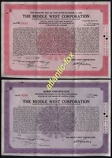1936  USA THE MIDDLE WEST CORPORATION - DELAWARE Scrip Certificates