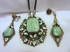 Antique Czech Glass Enamel Paste Pendant Earrings Set Necklace Long