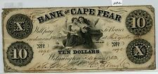 Obsolete $10 Cape Fear Wilmington, NC (#1132) Nice Note, but Corner Issues, Hole