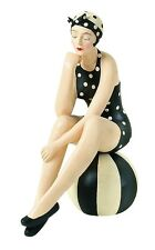 Collectible BATHING BEAUTY FIGURINE in Black & White Polka Dots on Beach Ball
