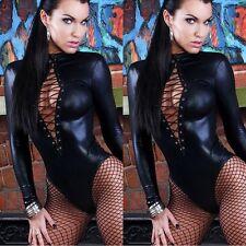 Wet Look PVC Catsuit Faux Leather Black Jumpsuit Women Outfit BodySuit Clubwear