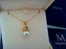 "Authentic  ""MIKIMOTO""  8.7mm Akoya Pearl & Diamond Necklace 18k  gold"