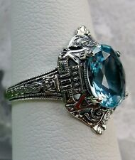 3ct Oval Cut *Aquamarine* Sterling Silver Filigree Deco/Egyptian Ring Size 7