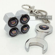 Stainless Steel Car Tire Air Valve Caps & Mini Wrench Keychain for Cadillac CTS