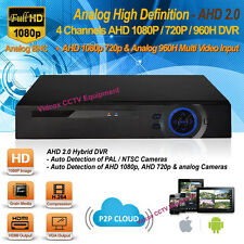 4 Channel AHD 1080P H.264 AHD Security CCTV DVR Recorder iPhone Android P2P HDMI