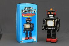 Super Rare Metal House Japan Battery Operated TV Television Robot Tin Toy in BOX