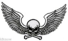 """WINGED SKULL EMBROIDERED PATCH 10.2cm x 6.5cm  (4"""" X 2-1/2"""")"""