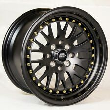 MST MT10 15x8 4x100/114.3 +25 Matte Black Rims Fits Civic Si Miata Fender Flares