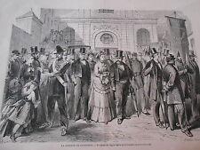 Gravure 1872 - La rosière de Nanterre La sortie de l'église parès cérémonie