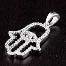 Women 925 Sterling Silver CZ Hamsa Hand Of God Eye Good Luck Charm Pendant White