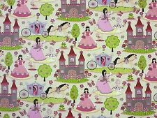 PRETTY PRINCESS MULTI A22 100% COTTON CURTAIN DRESSMAKING CHILDRENS FABRIC FAIRY