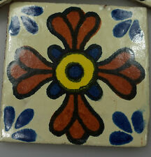 90 Ceramic Mexican Wall Tile Hand Painted-Made Mexico Terracotta Tiles R01