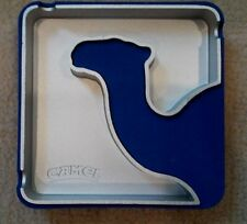 Rare Camel Cigarette Metal Ashtray with Blue Silhouette Camel ,Tobacciana