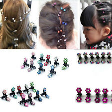 6pcs Woman Girls Sweet Rhinestone Crystal Flower Mini Hair Claws Clips Clamps