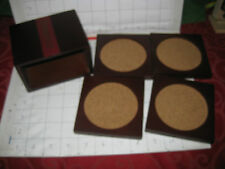 DELUXE COASTERS DEWAR'S 12 WOODEN BOX HOLDER + 4 SQUARE WOODEN COASTERS CORK