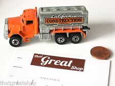 HOT WHEELS CALIFORNIA CONSTRUCTION COMPANY TRUCK PETERBILT/WATER TANK 1979