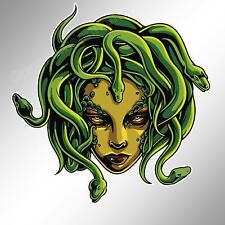 funny car bumper sticker Medusa Greek goddess with snakes for hair decal 96 mm
