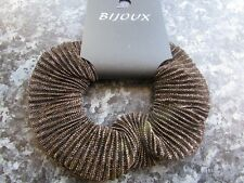Bijoux Gold & Black Lurex Hair Scrunchie elastic striped fabric bobble 11cm band