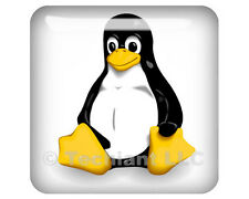"Linux Tux Classic White 1""x1"" Domed Case Badge / Sticker Logo"