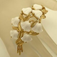 Vintage TRIFARI Brooch White Glass Flower Beau Belles Floral Pin