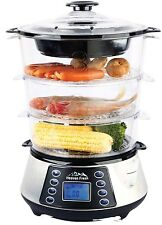 Stainless Steel 3-Tier Digital Food Steamer, Electric Digital Meat & Rice Cooker