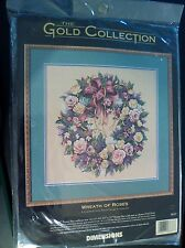 """DIMENSIONS GOLD COLLECTION Counted Cross Stitch Kit -  WREATH OF ROSES 16"""" x 16"""""""