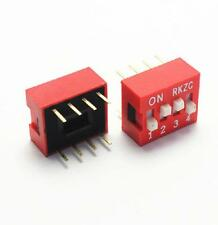 5PCS Red 2.54mm Pitch 4-Bit 4 Positions Ways Slide Type DIP Switch Z3