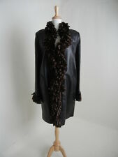 Bisang Couture 14/XXL Black Leather Loro Piana Cashmere Reversible Mink Fur Coat