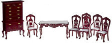 Dollhouse Miniature Mahogany Dining Room Set Doll House Furniture