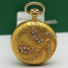 1910's OMEGA 18K SOLID YELLOW GOLD DIAMOND FLOWERS PENDANT & POCKET WATCH