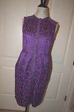 Nanette Lepore  100% cotton purple rayon  embroidered dress 6