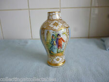 Beautiful Antique Gilded Dresden Porcelain Vase Decorated With Courting Couples