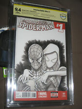 GREG HORN SPIDER-MAN, SPIDER-GWEN SKETCH COVER-CBCS 9.4-FREE SHIPPING!