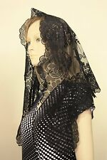 Black Spanish style veils and mantilla Catholic chapel lace - large