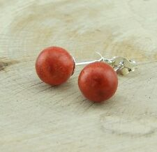 Bali Red Coral Bead 925 Silver Stud Earrings 8mm Jewellery