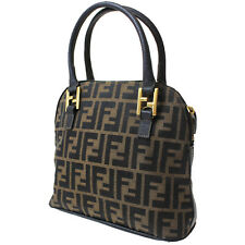 FENDI Zucca Pattern Hand Bag Brown Canvas Leather Vintage Authentic #7509 M