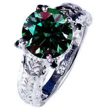 3.77 ct VS1/ GREEN REAL MOISSANITE & NATURAL BLACK DIAMOND SILVER MEN'S RING
