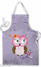 PERSONALISED PURPLE CUTE OWL CHILDRENS APRON BAKING PAINTING WATER ARTS & CRAFTS