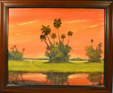 NORMAN WRIGHT Google Noted Fla. Highwaymen Style 2x Signed Framed Oil Masonite