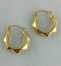 New 9ct Yellow Gold Patterned Creole Hoop Earrings
