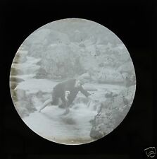 Glass Magic lantern slide YOUNG VICTORIAN BOY PLAYING IN THE RIVER  C1900