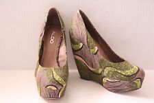 Aldo Wedges With Brown And Green Print Size 8