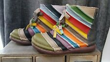 Estacion Handmade Leather Rainbow Art Festival Hippy Supersoft Boots Pristine