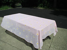 "Vintage Tableclothes Pink White Flowers Solid and Sheer Set of 2  Size 50"" x 80"""