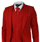 Mens Red 5 Piece Suit Blazer Trouser Tie Hankie Party Wedding Prom Tailored Fit