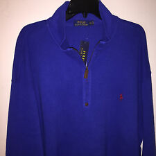 NWT BLUE POLO RALPH LAUREN ½ ZIP PONY LOGO SWEATER SHIRT 2XLT TALL COTTON $125
