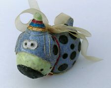 Dog Christmas ornament metal blue 3-dimensional whimsical hanging dangly legs