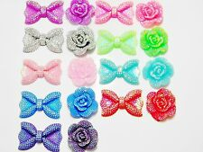 18 Small Flatback AB Rhinestone Bows Flowers Resin Kawaii Cabochons DIY Decoden