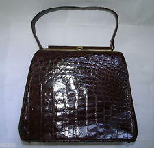 Bellestone Alligator Kelly Bag Brown Purse Leather Lined Vintage Retro Exotic