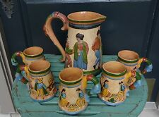 MEXICAN POTTERY 30's 40's Tlaquepaque PITCHER & MUGS PETATILLO Hat Dance
